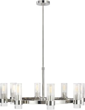 C&M by Chapman & Myers CC1378PN Geneva Contemporary Polished Nickel Ceiling Chandelier