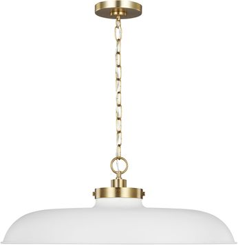 C&M by Chapman & Myers CP1111MWTBBS Wellfleet Contemporary Matte White / Burnished Brass Ceiling Light Pendant