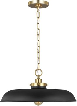 C&M by Chapman & Myers CP1231MBKBBS Wellfleet Contemporary Midnight Black / Burnished Brass Drop Ceiling Lighting