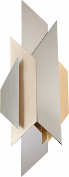 Corbett 207-11 Modernist Contemporary Polished Stainless Steel with Silver and Gold Leaf 1-Light Light Sconce