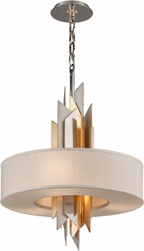 Corbett 207-44 Modernist Contemporary Polished Stainless Steel with Silver and Gold Leaf Small Pendant Hanging Light
