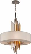 Corbett 207-46-F Modernist Modern Polished Stainless Steel with Silver and Gold Leaf Fluorescent Medium Drop Ceiling Lighting