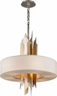 Corbett 207-48-F Modernist Modern Polished Stainless Steel with Silver and Gold Leaf Fluorescent Large Ceiling Pendant Light