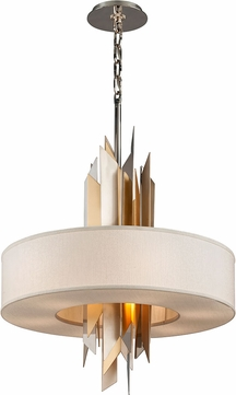 Corbett 207-48 Modernist Contemporary Polished Stainless Steel with Silver and Gold Leaf Large Ceiling Light Pendant