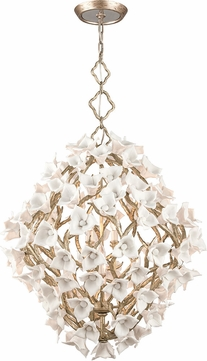 Corbett 211-48 Lily Contemporary Enchanted Silver Leaf Large Hanging Pendant Lighting