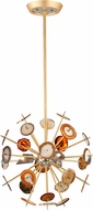 Corbett 212-43 Meteor Modern Textured Gold Leaf Halogen Small Pendant Hanging Light