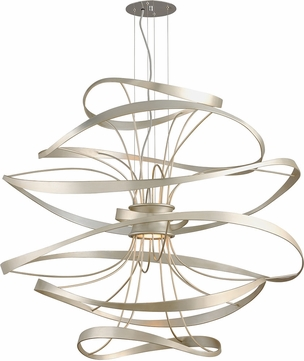 Corbett 213-44 Calligraphy Contemporary Silver Leaf LED Extra Large Drop Ceiling Light Fixture
