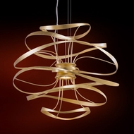 Corbett 216-41 Calligraphy Modern Gold Leaf w/ Polished Stainless Accents LED 18  Pendant Light Fixture
