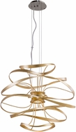 Corbett 216-42 Calligraphy Contemporary Gold Leaf w/ Polished Stainless Accents LED 26  Pendant Lighting Fixture