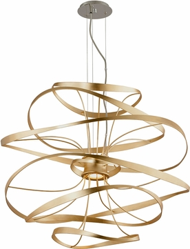 Corbett 216-43 Calligraphy Modern Gold Leaf w/ Polished Stainless Accents LED 34 Hanging Pendant Lighting