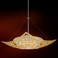 Corbett 223-44 Motif Modern Gold Leaf w/ Polished Stainless Accents 33.75 Hanging Pendant Light