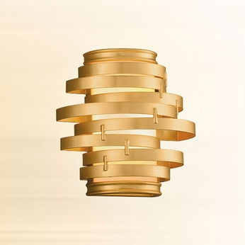 Corbett 225-11 Vertigo Contemporary Gold Leaf w/ Polished Stainless Accents LED Wall Sconce Lighting