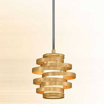 Corbett 225-41 Vertigo Contemporary Gold Leaf w/ Polished Stainless Accents LED Mini Hanging Light Fixture