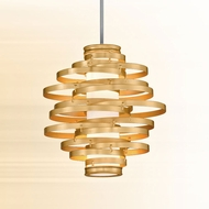 Corbett 225-42 Vertigo Modern Gold Leaf w/ Polished Stainless Accents LED 18  Drop Lighting