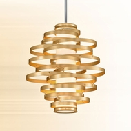 Corbett 225-43 Vertigo Contemporary Gold Leaf w/ Polished Stainless Accents LED 23  Drop Ceiling Lighting