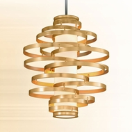 Corbett 225-44 Vertigo Modern Gold Leaf w/ Polished Stainless Accents LED 30  Ceiling Light Pendant