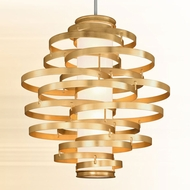 Corbett 225-76 Vertigo Contemporary Gold Leaf w/ Polished Stainless Accents LED 45  Ceiling Pendant Light