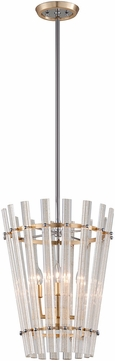 Corbett 239-44 Sauterne Modern Gold Leaf With Polished Stainless Hanging Pendant Light