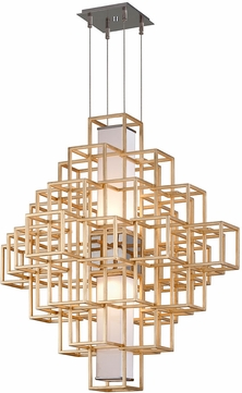 Corbett 242-43 Metropolis Contemporary Gold Leaf LED 35  Pendant Lamp
