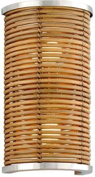 Corbett 277-12 Carayes Contemporary Natural Rattan Stainless Steel Sconce Lighting