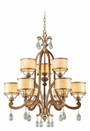 Corbett 71-09 Roma Silver Traditional 2 Tier 9 Light Chandelier With Shades