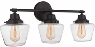 Craftmade 19528FB3 Essex Flat Black 3-Light Bathroom Lighting Fixture