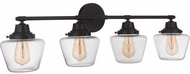 Craftmade 19538FB4 Essex Flat Black 4-Light Bath Light Fixture