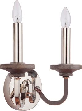 Craftmade 36562-PLNGRW Ashwood Polished Nickel/Greywood Sconce Lighting