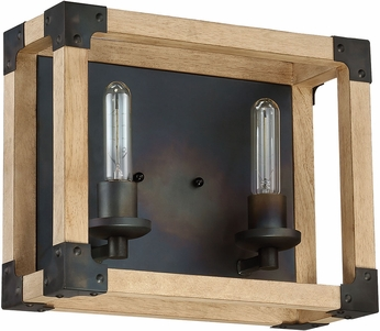 Craftmade 41502-FSNW Cubic Contemporary Fired Steel / Natural Wood 2-Light Bathroom Lighting