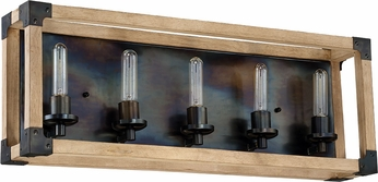 Craftmade 41505-FSNW Cubic Modern Fired Steel / Natural Wood 5-Light Bathroom Light
