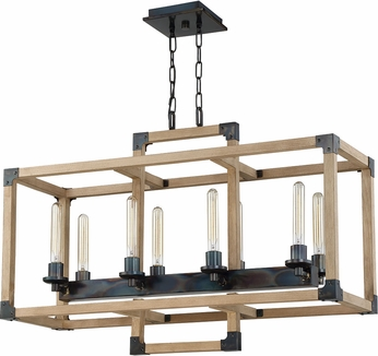 Craftmade 41528-FSNW Cubic Modern Fired Steel / Natural Wood 36  Kitchen Island Light Fixture