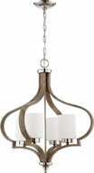 Craftmade 46724-PLNWF Jasmine Contemporary Polished Nickel / Weathered Fir Mini Chandelier Lamp