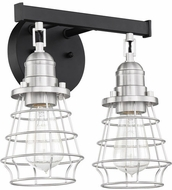 Craftmade 50602-FBBNK Thatcher Flat Black and Brushed Polished Nickel 2-Light Vanity Lighting Fixture