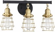 Craftmade 50603-FBSB Thatcher Flat Black and Satin Brass 3-Light Bathroom Light Sconce