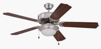Craftmade K11207 Pro Builder 209 Brushed Polished Nickel Fluorescent Indoor 52  Home Ceiling Fan