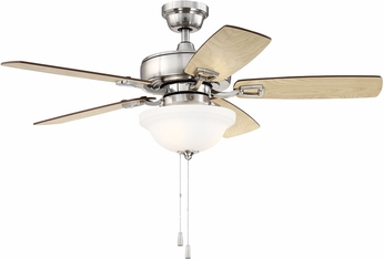 Craftmade TCE52BNK5C1 Twist N Click Brushed Polished Nickel LED 52  Home Ceiling Fan
