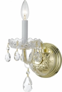 Crystorama 1031-PB-CL-SAQ Traditional Crystal Polished Brass Candle Light Sconce