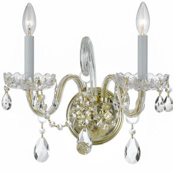 Crystorama 1032-PB-CL-MWP Traditional Crystal Polished Brass Candle Wall Sconce Lighting