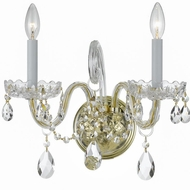 Crystorama 1032-PB-CL-SAQ Traditional Crystal Polished Brass Candle Lighting Wall Sconce