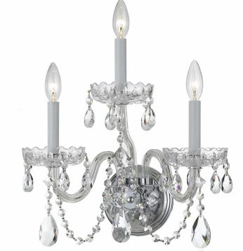 Crystorama 1033-CH-CL-S Traditional Crystal Polished Chrome Candle Wall Lighting Sconce