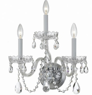 Crystorama 1033-CH-CL-SAQ Traditional Crystal Polished Chrome Candle Wall Sconce Lighting