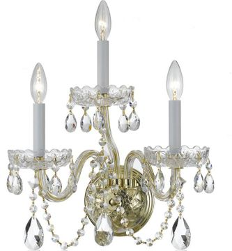 Crystorama 1033-PB-CL-MWP Traditional Crystal Polished Brass Candle Wall Mounted Lamp