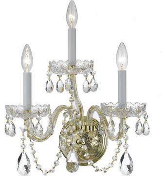 Crystorama 1033-PB-CL-SAQ Traditional Crystal Polished Brass Candle Wall Lighting Fixture