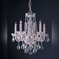 Crystorama 1061-CH-CL-MWP Traditional Crystal 18 Inch Diameter Chrome 5 Light Mini Candle Chandelier