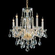 Crystorama 1061-PB-CL-MWP Traditional Crystal Mini Polished Brass Finish 18 Inch Diameter 5 Candle Chandelier Lamp