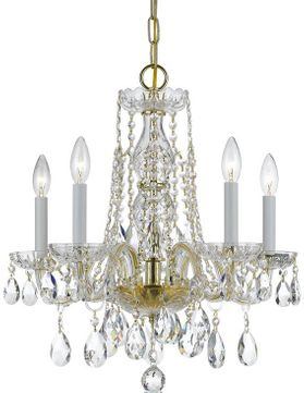 Crystorama 1061-PB-CL-S Traditional Crystal Polished Brass Mini Ceiling Chandelier