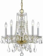 Crystorama 1061-PB-CL-SAQ Traditional Crystal Polished Brass Mini Hanging Chandelier