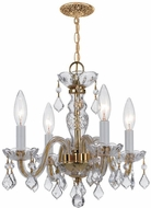 Crystorama 1064-PB-CL-S Traditional Crystal Polished Brass Mini Lighting Chandelier