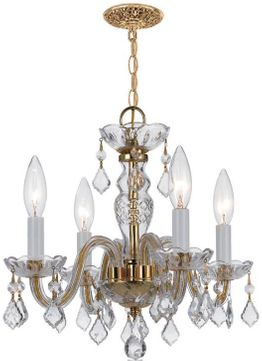 Crystorama 1064-PB-CL-SAQ Traditional Crystal Polished Brass Mini Chandelier Lamp