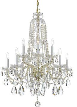 Crystorama 1110-PB-CL-SAQ Traditional Crystal Polished Brass Hanging Chandelier